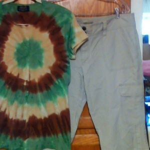 2 PC TAN CARGO AND TIE DYE T.